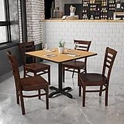 Flash Furniture Hercules Series Ladder Back Wooden Restaurant Chair, Walnut Finish,