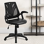 Flash Furniture Mid-Back Mesh Swivel Task Chair with Leather Padded Seat, Black (GOWY82LEA)