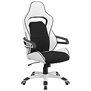 Flash Furniture CHCX0713H01 High-Back Vinyl Executive Swivel Office Chair, Wht w/Blk Fabric Inserts