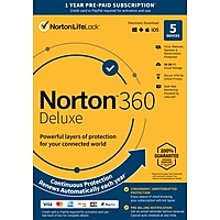 Norton 360 Deluxe Antivirus software for 5 Device 1 Year Sub.