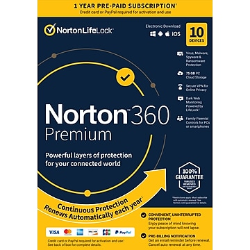Norton 360 Premium 10 Device, 1-Year Subscription with Auto-Renewal, Windows/Mac/Android/iOS, Product Key Card (21392060)