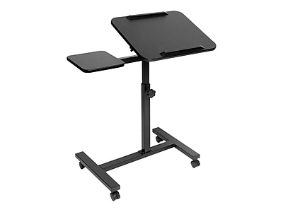 White White Barcley Turnlift Sit-Stand Mobile Laptop Desk Cart with Side Table Adjustable Mobile Laptop Computer Desk with Adjustable Top and Casters Ship from US
