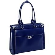 McKlein WINNETKA W Series Laptop Briefcase, Navy Genuine Leather (94837)