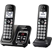Panasonic Link2Cell KX-TGD562M 2-Handset Bluetooth Cordless Phone with Answering Machine and Voice Assist, Black