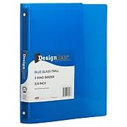 JAM Paper® Plastic 0.75 Inch Binder, Blue 3 Ring Binder, Sold Individually (53016BU)