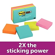 """Post-it® Super Sticky Notes, 1 7/8"""" X 1 7/8"""", Miami Collections, 8 Pads/Pack (622-8SSMIA)"""