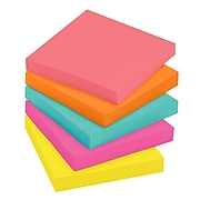 """Post-it® Notes, 3"""" x 3"""" Cape Town Collection, 100 Sheets/Pad, 5 Pads/Pack (654-5PK)"""