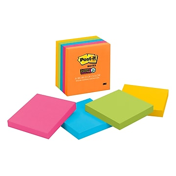 """Post-it® Super Sticky Notes, 3"""" x 3"""", Rio de Janeiro Collection, 90 Sheets/Pad, 5 Pads/Pack (654-5SSUC)"""
