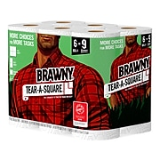 Brawny Tear-A-Square Kitchen Roll Paper Towels, 2-Ply, 96 Sheets/Roll, 6 Rolls/Pack, 4 Packs/Carton (44276CT)