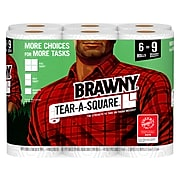 Brawny Tear-A-Square Kitchen Roll Paper Towels, 2-Ply, 96 Sheets/Roll, 6 Rolls/Pack (44276)