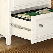 """Bush Furniture Fairview 48""""W Computer Desk with 2 Drawer Lateral File Cabinet, Antique White and Tea Maple (STF007AW)"""