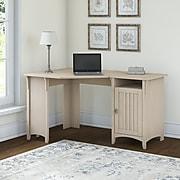 "Bush Furniture Salinas 55""W Corner Desk with Storage Cabinet, Antique White (SAD155AW-03)"