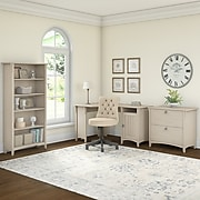 """Bush Furniture Salinas 55""""W Corner Desk with Lateral File Cabinet and 5-Shelf Bookcase, Antique White (SAL013AW)"""