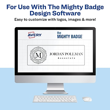 Avery The Mighty Badge Magnet Name Badge Kit, Silver, 10/Pack (71205)