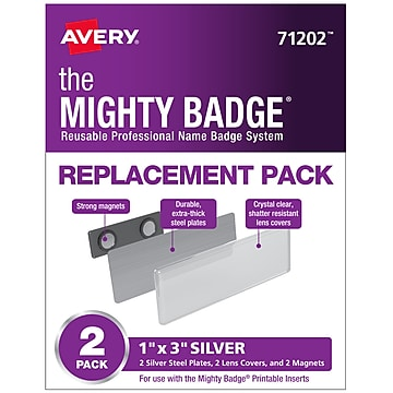 Avery The Mighty Badge Magnet Name Badge Replacement Pack, Silver, 2/Pack (71202)