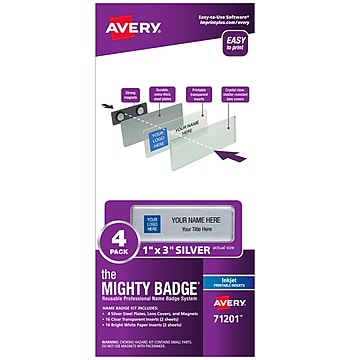 Avery The Mighty Badge Magnet Name Badge System, Silver, 4/Pack (71201)