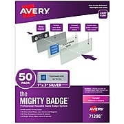 Avery The Mighty Badge Magnet Name Badge Kit, Silver, 50/Pack (71208)