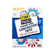 Crayola Project Premium Construction Paper, White, 50/Pack (99-0081)