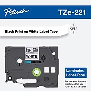 """Brother Genuine P-touch TZe-221 Label Maker Tape, 0.35""""W, Black On White"""