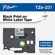"""Brother Genuine P-touch TZe-231 Laminated Label Maker Tape, 0.47""""W, Black On White"""