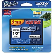 """Brother Genuine P-touch TZe-1312PK Label Maker Tape, 1/2""""W, Black On Clear, 2/Pack"""