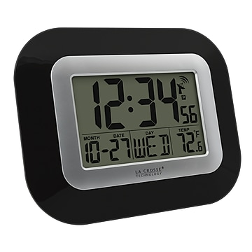 "La Crosse Technology Atomic Wall/Table Clock, 7.2""H x 8.95""W x 1.2""D (WT-8005U-B)"
