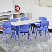 "Flash Furniture YU06036RECTBLBL 21"" x 37.75"" Plastic Rectangle Activity Table, Blue"