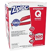 Ziploc Storage Bags, Quart, 500 Bags/Carton (682256)