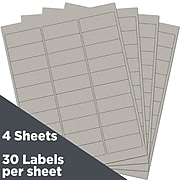 JAM Paper Laser/Inkjet Mailing Address Labels, 1 x 2 5/8, Silver Metallic, 120 Labels/Pack (40732536)
