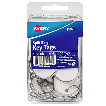 Avery Split Ring Metal Rim Paper Key Tags, 1-1/4  Diameter, White, 50 Tags (11025),Size: med