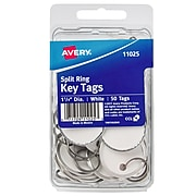 "Avery Split Ring Metal Rim Paper Key Tags, 1-1/4"" Diameter, White, 50 Tags (11025)"