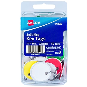 Avery Split Ring Metal Rim Paper Key Tags, 1-1/4  Diameter, Assorted Colors, 50 Tags (11026),Size: med