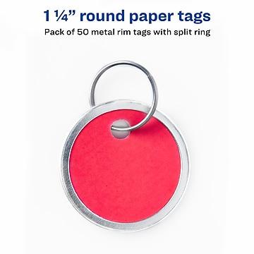 "Avery Split Ring Metal Rim Paper Key Tags, 1-1/4"" Diameter, Assorted Colors, 50 Tags (11026)"