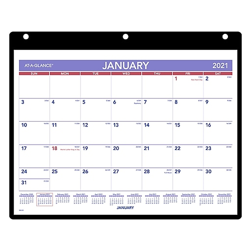 "2021 AT-A-GLANCE 8.25"" x 11"" Desk or Wall Calendar, White ..."