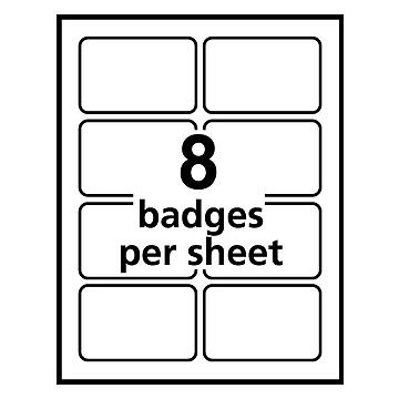 "Avery Adhesive Laser/Inkjet Name Badges, 2 1/3"" x 3 3/8"", White, 160 Labels Per Pack (8395)"