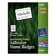 """Avery EcoFriendly Adhesive Name Tags, 2-1/3"""" x 3-3/8"""", White, 400/Pack (45395)"""