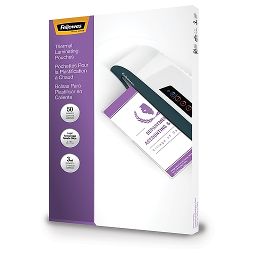 Fellowes Laminating Pouches Legal Size 3 Mil 50 Pack At Staples