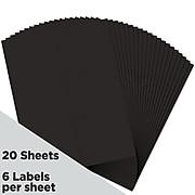 """JAM Paper Laser/Inkjet Address Label, 4"""" x 4"""", Black, 6 Labels/Sheet, 20 Sheets/Pack (302228591)"""
