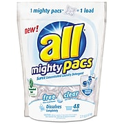 All Mighty Pacs Free & Clear Laundry Detergent Pacs, 48/Pack (SNP197000667)