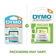 """Dymo LetraTag Multi-Pack 12331 Label Maker Tapes, 0.5""""W, Variety Pack Assortment, 3/Pack"""