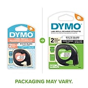 """Dymo LetraTag 10697 Label Maker Tapes, 0.5""""W, Black On White, 2/Pack"""