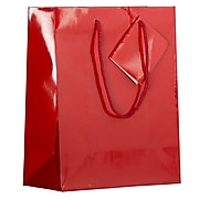 "JAM Paper 10"" x 8"" x 4"" Paper Gift Bags, Red, 6 Bags/Pack (672GLrea)"