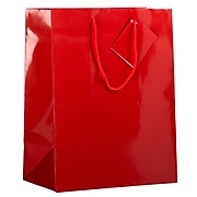 "JAM Paper 10"" x 13"" x 5"" Paper Gift Bags, Red, 6 Bags/Pack (673GLrea)"