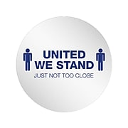 "Deflect-O StandSafe Spacing Disc, ""United We Stand, Just Not Too Close"", 20"", Clear/Blue, 6/Pack (PSDD20UWS/6)"
