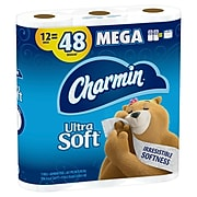 Charmin Ultra Soft Toilet Paper, 2-Ply, White, 284 Sheets/Roll, 12 Mega Rolls/Pack (61925)