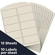 """JAM Paper Laser/Inkjet Shipping Address Label, 2"""" x 4"""", Ivory, 10 Labels/Sheet, 12 Sheets/Pack (17966070)"""