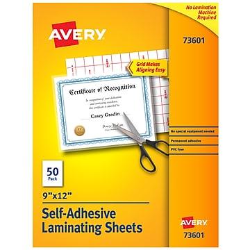 """Avery Self-Adhesive Laminating Sheets, 9"""" x 12"""", 50 Labels Per Box (73601)"""