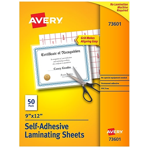 Avery Self Adhesive Laminating Sheets 3mil Letter Size 50 Pack 73601 At Staples
