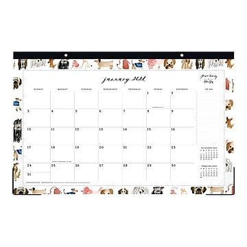 """2021 Blue Sky 11"""" x 17"""" Desk Pad Calendar, Dogs by Jenna Rainey, Multicolor (125269)"""