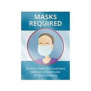 """ComplyRight Window Cling, Mask Required, 10"""" x 14"""", Blue/White (N0133)"""